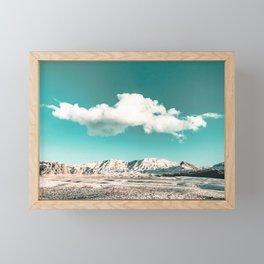 Vintage Desert Snow Cloud // Scenic Desert Landscape in Winter Fluffy Clouds Snow Mountains Cacti Framed Mini Art Print