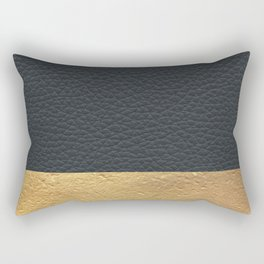 Color Blocked Gold & Leather Rectangular Pillow