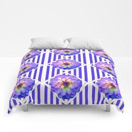 STRIPED PURPLE PATTERNED LILAC PURPLE-WHITE DAHLIA GARDEN  FLOWERS GARDEN ART Comforters