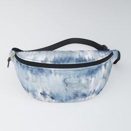 Modern hand painted dark blue tie dye batik watercolor Fanny Pack