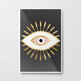 gold foil evil eye in blush Metal Print