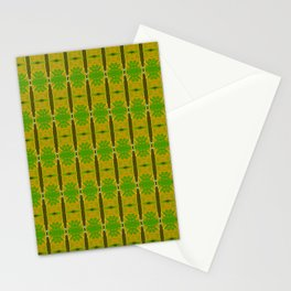 Heliconia Green Gold Stalks Pattern Stationery Cards
