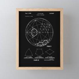 Buckminster Fuller 1961 Geodesic Structures Patent - White on Black Framed Mini Art Print