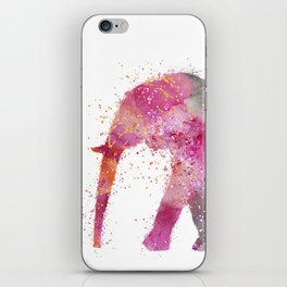 Artsy watercolor Elephant bright orange pink colors iPhone Skin