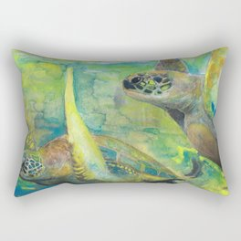 """Giant Sea Turtle Watercolor Fine Art Print Reproduction Painting """"The Lovers"""" Rectangular Pillow"""