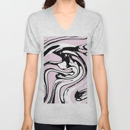Black, White and Pink Graphic Paint Swirl Pattern Effect Unisex V-Neck