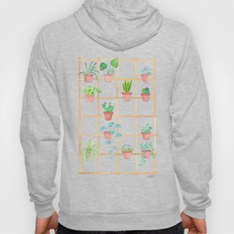Watercolor Pot Plants Hoody