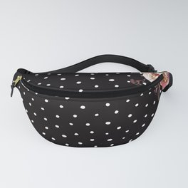 Boho Flowers and Polka Dots on Black Fanny Pack