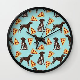 German Shorthair Pointer dog breed pet art pizza slices pattern design by pet friendly dog lovers Wall Clock