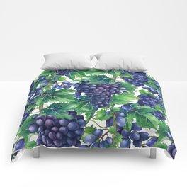 Watercolor grapes Comforters