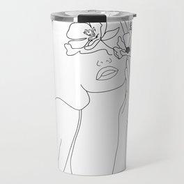 Minimal Line Art Woman with Flowers Travel Mug