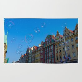 Summer soap bubbles in the city Rug