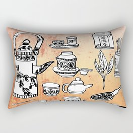 Chinese Tea Doodles 2 Rectangular Pillow
