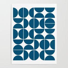 Mid Century Modern Geometric 04 Blue Poster