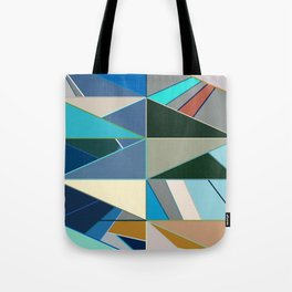 Mid-Century Modern Abstract, Turquoise and Neutrals Tote Bag