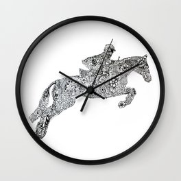 Zentangle Horse and rider show jumping Wall Clock