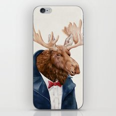 Moose in Navy Blue iPhone & iPod Skin