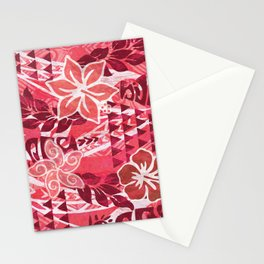 Red Hibiscus Polynesian Tapa Stationery Cards