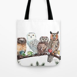 Tea owls , funny owl tea time painting by Holly Simental Tote Bag