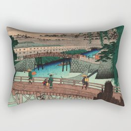 Vintage Woodblock - Ikkoku Bridge Japan Rectangular Pillow
