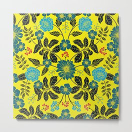Bright Yellow, Red, Turquoise & Navy Blue Floral Pattern Metal Print