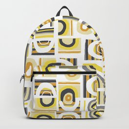 Yellow Grey Retro Bauhaus Freehand Abstract Pattern Backpack