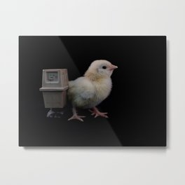 GNK Power Droid with Baby Chicken Metal Print