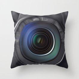 Camera SLR Front semi abstract.  Throw Pillow