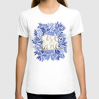 gold T-shirts featuring That's Life – Gold & Blue by Cat Coquillette