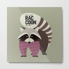 Hello Raccoon Metal Print
