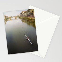 Arno river rowing scull Stationery Cards