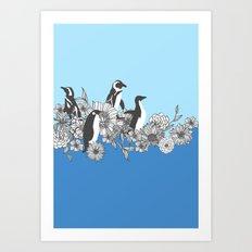 Flowers & Penguins Art Print