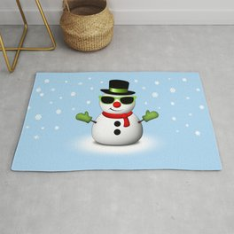 Cool Snowman with Shades and Adorable Smirk Rug