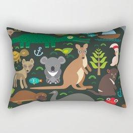 Animals Australia: Echidna Platypus ostrich Emu Tasmanian devil Cockatoo parrot Wombat snake turtle Rectangular Pillow