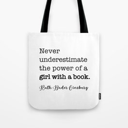 Never underestimate the power of a girl with a book. Tote Bag