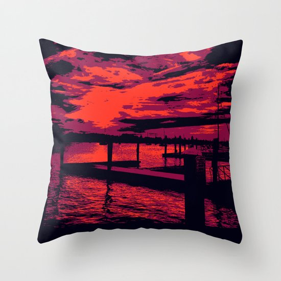 Sunset Over Bristol Harbor Throw Pillow