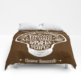 Great minds & small minds discuss ideas Inspirational Motivational Quote Design Comforters