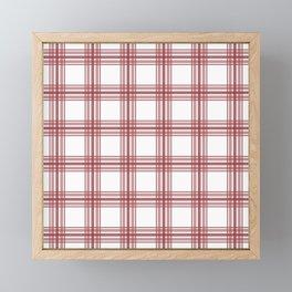 Farmhouse Plaid in Brick Red and White Framed Mini Art Print