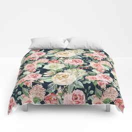 Country chic navy blue pink ivory watercolor floral Comforters