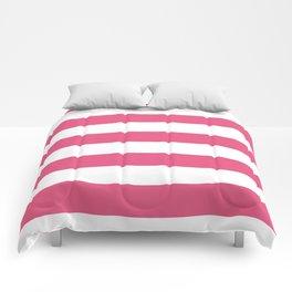Horizontal Stripes - White and Dark Pink Comforters