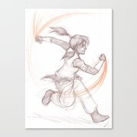 legend of korra Canvas Prints featuring Korra by AndytheLemon