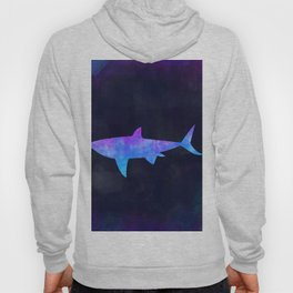 SHARK IN SPACE // Animal Graphic Art // Watercolor Canvas Painting // Modern Minimal Cute Hoody