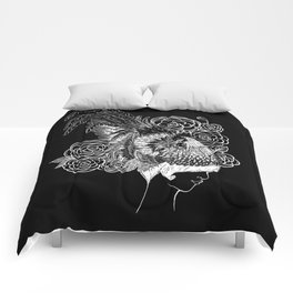 Rooster&Camellia Hat, White on Black Comforters