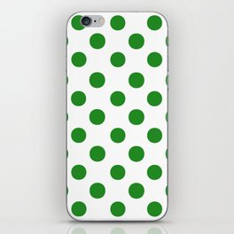 Polka Dots (Forest Green/White) iPhone Skin