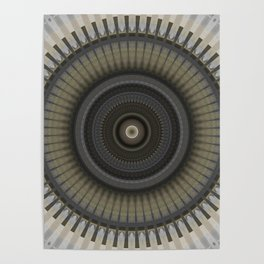 Silver Gold and Bronze Metal Mandala Poster