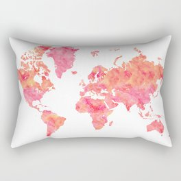 "Hot pink and orange watercolor world map ""Tatiana"" Rectangular Pillow"