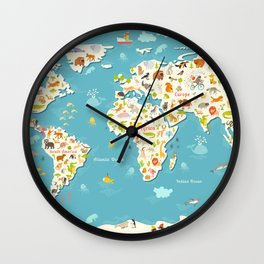 Animals world map. Beautiful cheerful colorful vector illustration for children and kids Wall Clock