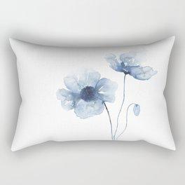 Blue Watercolor Poppies Rectangular Pillow