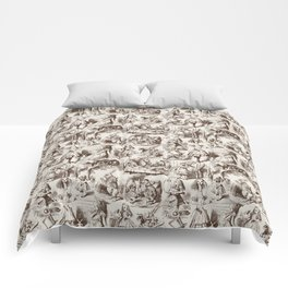 Alice in Wonderland   Toile de Jouy   Brown and Beige Comforters