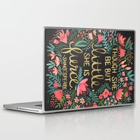 blanket Laptop & iPad Skins featuring Little & Fierce on Charcoal by Cat Coquillette